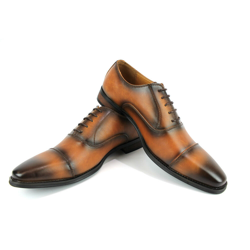 Dress Shoes Cognac Brown Mens Cap Toe Lace Up Oxfords Modern Santino Luciano 381