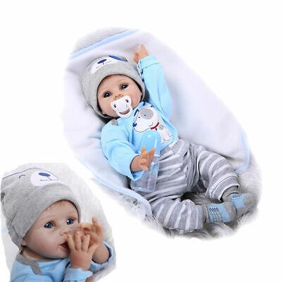 "22"" Silicone Vinyl Reborn Dolls Lifelike Baby Boy Newborn Doll Kids Xmas Gifts"