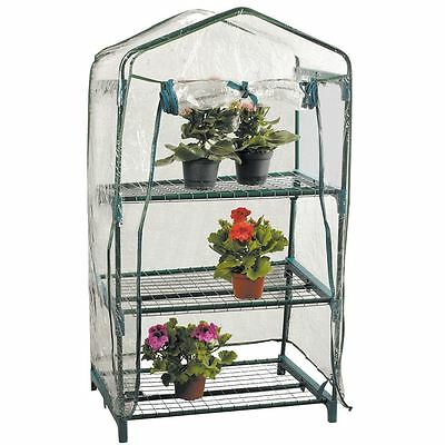 3 Tier Greenhouse Garden Mini Frame PVC Cover Roll Up Front Grow Plants Outdoor