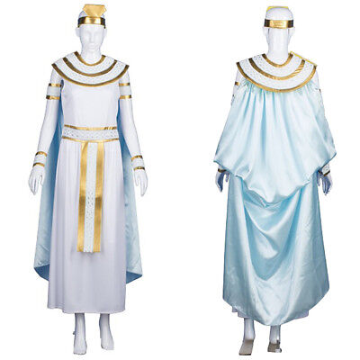 White Gold Dress Cape Collar Cosplay Cleopatra Nile Queen Fancy Costume - White Cleopatra Kostüm