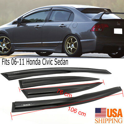 Fits 2006-2011 Honda Civic Sedan Slim Style Acrylic Window Visors 4PCS (2011 Honda Civic Hybrid)