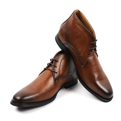 Men's Ankle Dress Boots Round Toe Lace Up Leather Luciano Santino Shoes - Men Dress Leather Boots