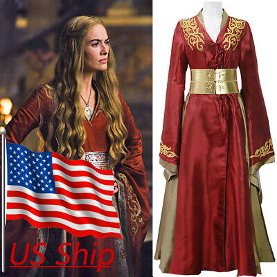 Game Of Thrones Cosplay Queen Cersei Lannister Red Luxury Party Dress Costume