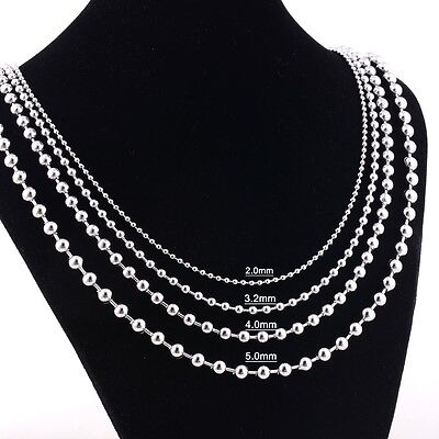 Stainless Steel 24 Inch 5mm Ball Link Neck Chain Necklace