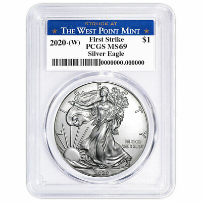 Best  2020 (W) $1 AMERICAN SILVER EAGLE PCGS MS69 FIRST STRIKE WEST POINT LABEL