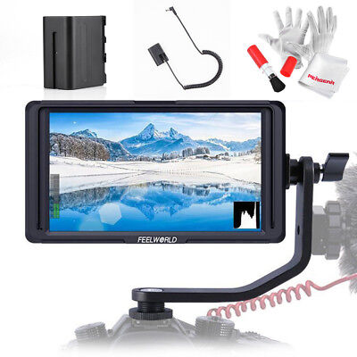 """Feelworld F6S 5"""" IPS 1920 x 1080 4K HDMI On Camera Video Monitor +Battery Pack"""