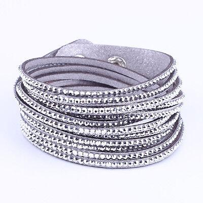 Fashion New Rhinestone Bracelet Leather Wrap Wristband Cuff Punk Bangle Silver