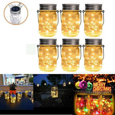 4er Solar Mason Jar mit 20Led Licht Laterne Garten Tischleuchte Glasgläser Party