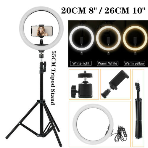 "10"" LED Ring Light Stand Kit Dimmable Photo Studio Selfie Phone Live Lamp ☉US"
