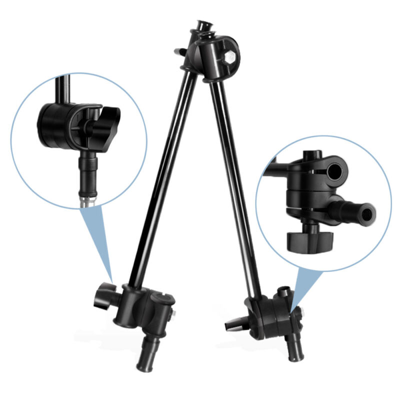 "Adjustable 2 Section Articulating Photography Boom Arm 1/4"" 3/8"" Female Thread"