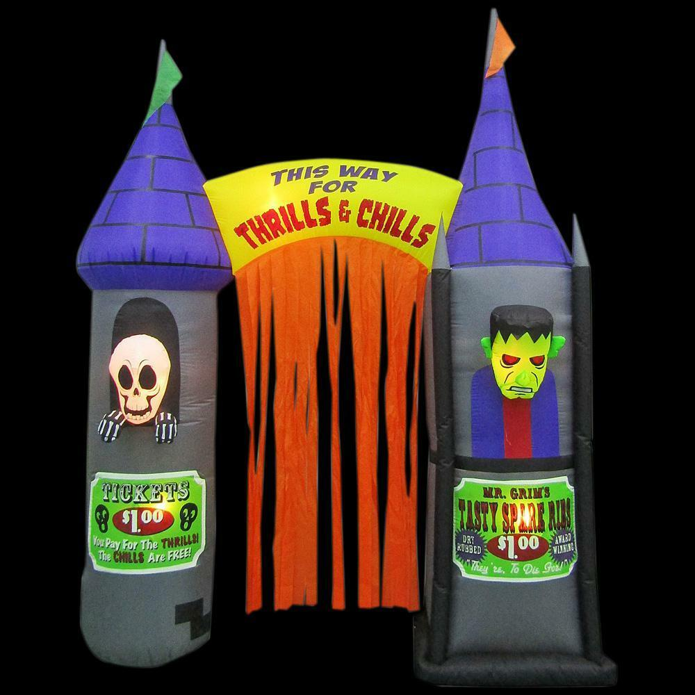 9.5 Ft. Inflatable Archway House Of Horrors Haunted House Halloween Frankenstein