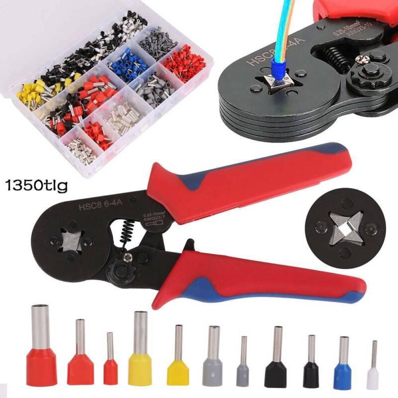 1350 teilig Set Crimpzange Aderendhülsen Kabelschuhe Zange 0,25-10mm² Presszange