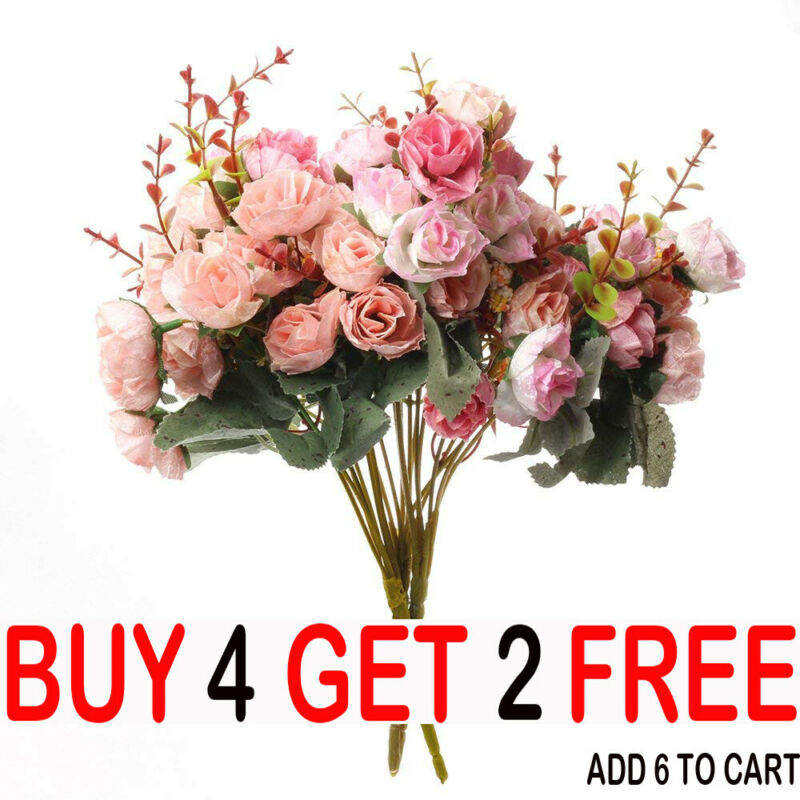 Home Decoration - 21HEADS ARTIFICIAL SILK SMALL FLOWERS ROSE BUNCH Wedding Home Outdoor Decor-YY