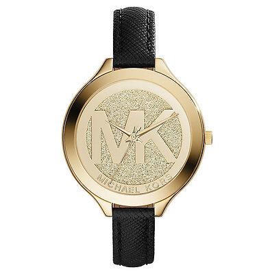 Michael Kors Uhr MK2392 LOGO RUNWAY Damenuhr Gold Leder Schwarz Armbanduhr
