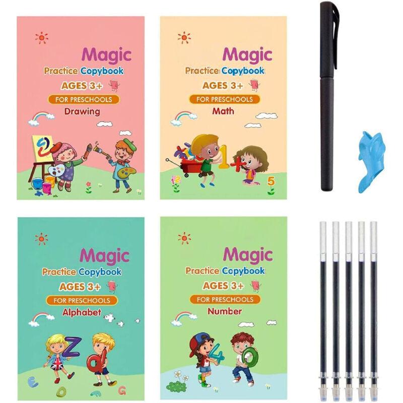 4Pcs Magic Practice Copybook Number Book Writin Preschooler Pen Age 3-5 Reusable