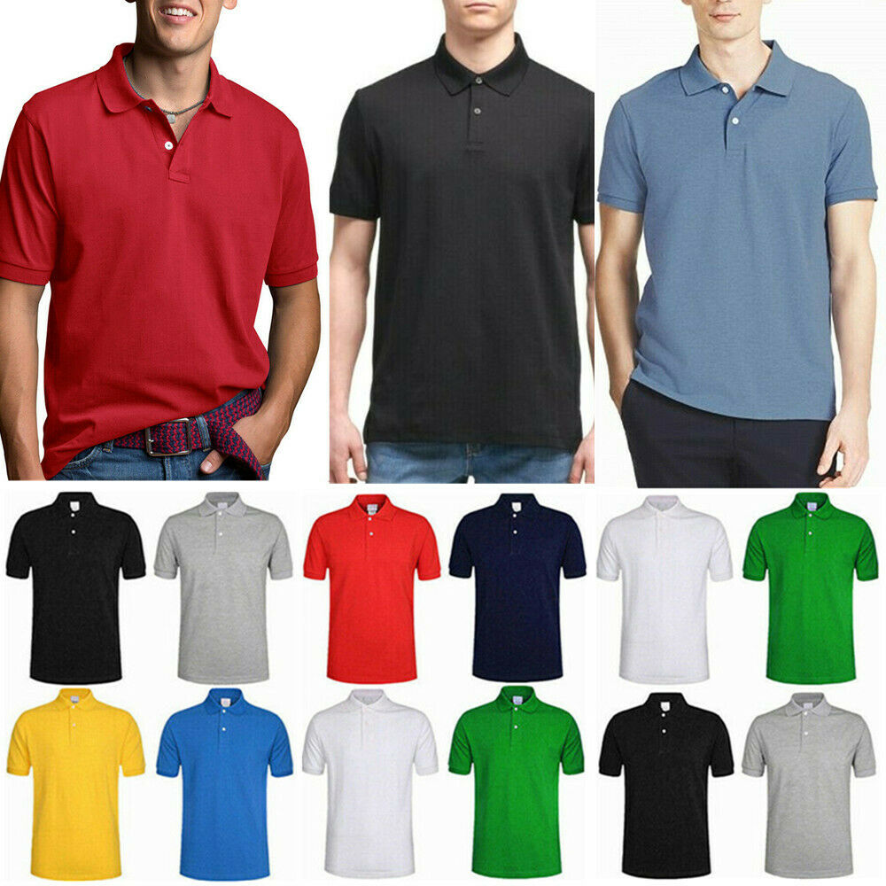 Mens Polo Shirt Golf Sports Cotton Short Sleeve Jersey Casua