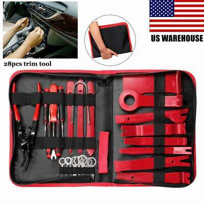 Seal Trim Removal Pry Bar Panel Door Interior Clip Remover With Pliers Tool 28pc