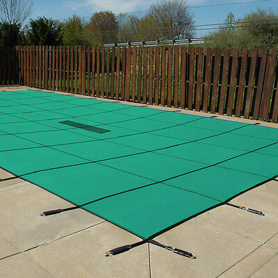 18'x36' Inground Rectangle Swimming Pool Winter Safety Cover Green Solid 12 Year ()