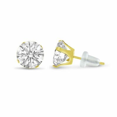 Round Genuine White Topaz Solid 10K Yellow Gold Stud Earrings - Choose Your -