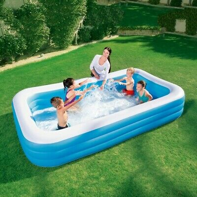 X-Large Paddling Pool Rectangular Inflatable Family Swimming Kids Garden Patio