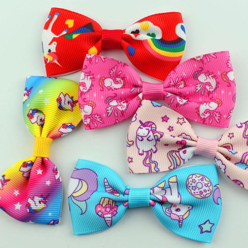 1//5//10Pcs Girls Rainbow Unicorn Bow Ribbon Alligator Hair Clips Hairpins Acc Hot