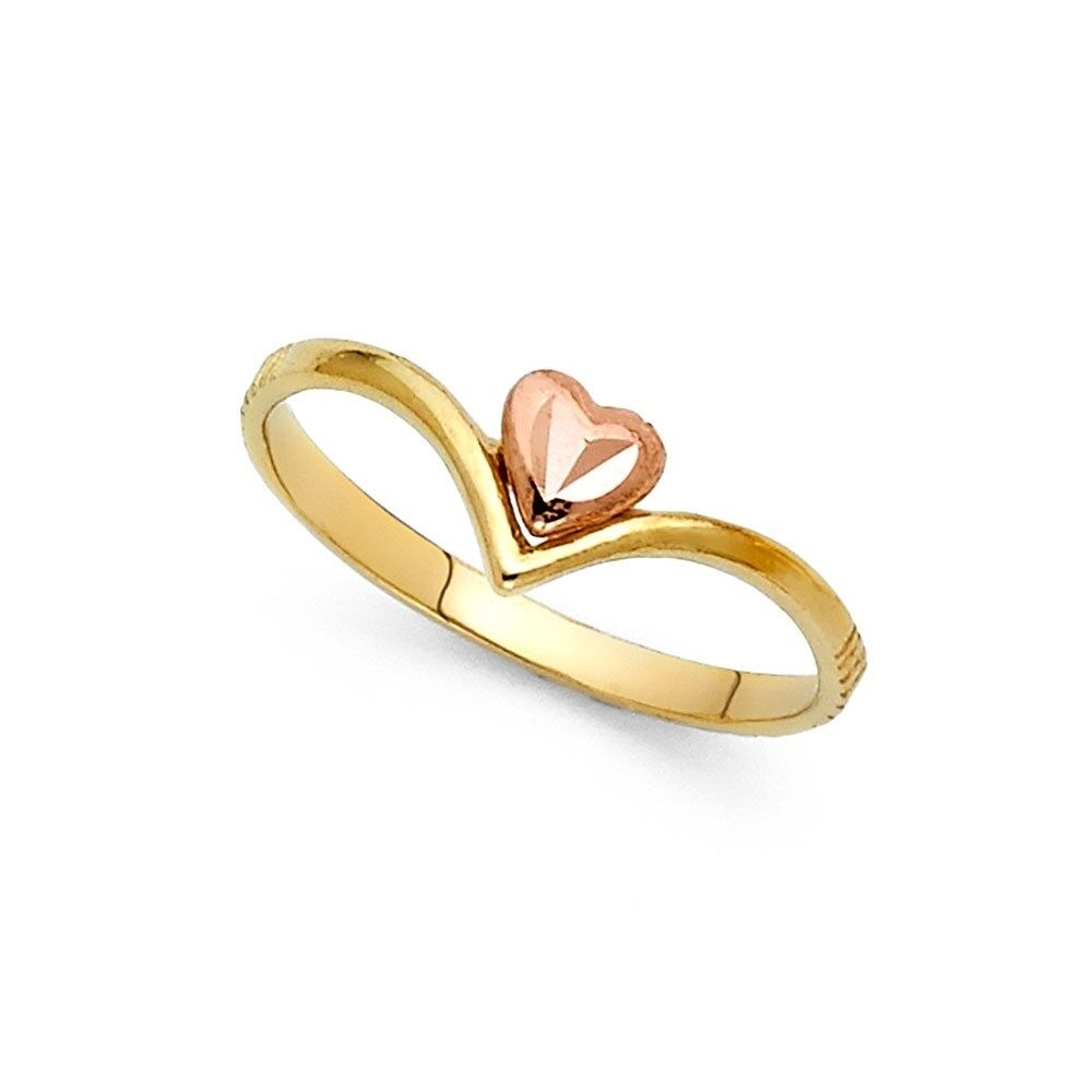 Women 14k Yellow Real Gold I Love You Double Heart Diamond Cut Fashion Ring Band