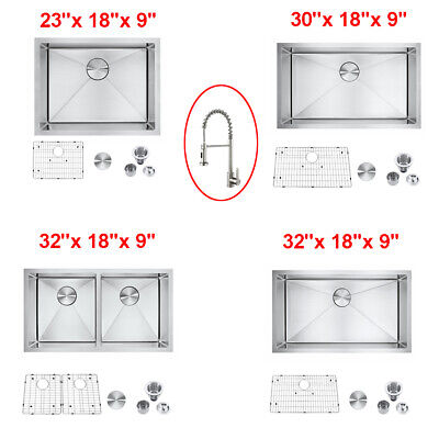 New Undermount 304 Stainless Steel Single/Double Bowl Kitchen Sink Multiple Size
