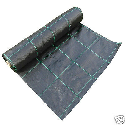 100gsm Weed Control Fabric Ground Cover Woven Membrane Garden Landscape 1.5mx50m