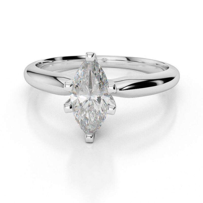 Smooth Solitaire Real Diamond Ring Marquise Cut 1 1/2 Carats 14 Kt White Gold