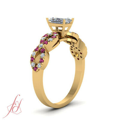 1.25 Carat Radiant Cut Modern Diamond Rings With Round Pink Sapphire Accents GIA 2