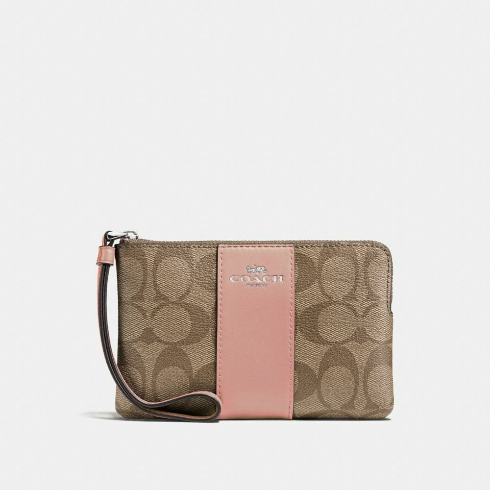New Coach F58032 F58035 Corner Zip Wristlet With Gift Box New With Tags Khaki Petal