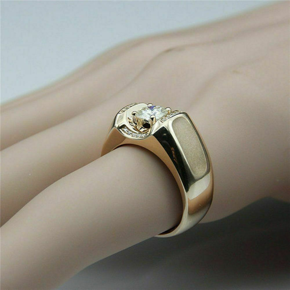 1.75 Ct Round Cut Diamond Mens Engagement Ring Wedding Band 14K Yellow Gold Over 2