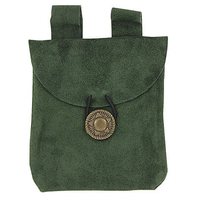 Renaissance Suede Leather Forest Evergreen Petite Medieval Belt Coin Pouch