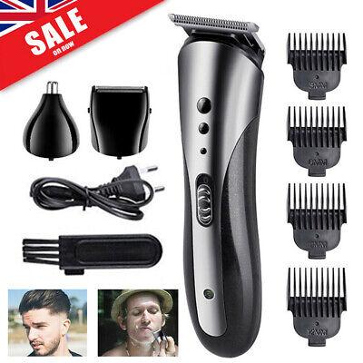 Mens Electric Cordless Razor Hair Clipper Beard Shaver Nose Trimmer Grooming Kit