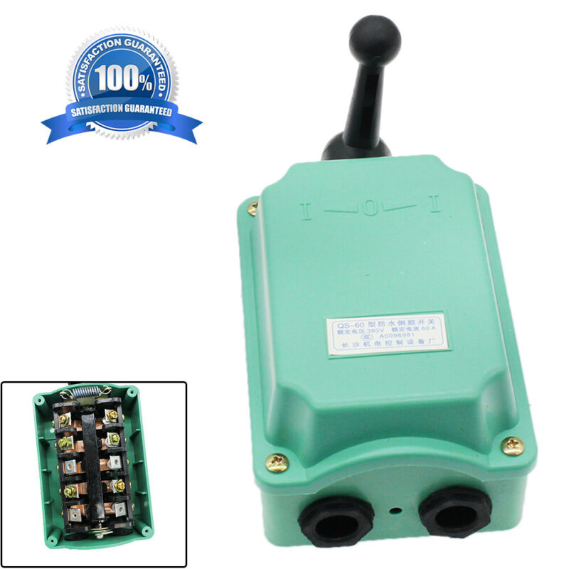 RainProof Motor Control 60A 0-380V Drum Switch Forward/Off/Reverse US Fast Ship