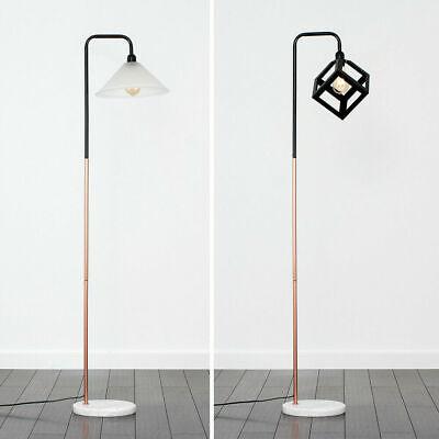 Black & Copper Floor Lamp Retro Design Shades Marble Base LED Vintage Light Bulb