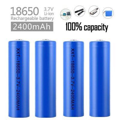3,7V 2400mAh 18650 Batterie Lithium AKKU Wiederaufladbare für Taschenlampen DE 3.7
