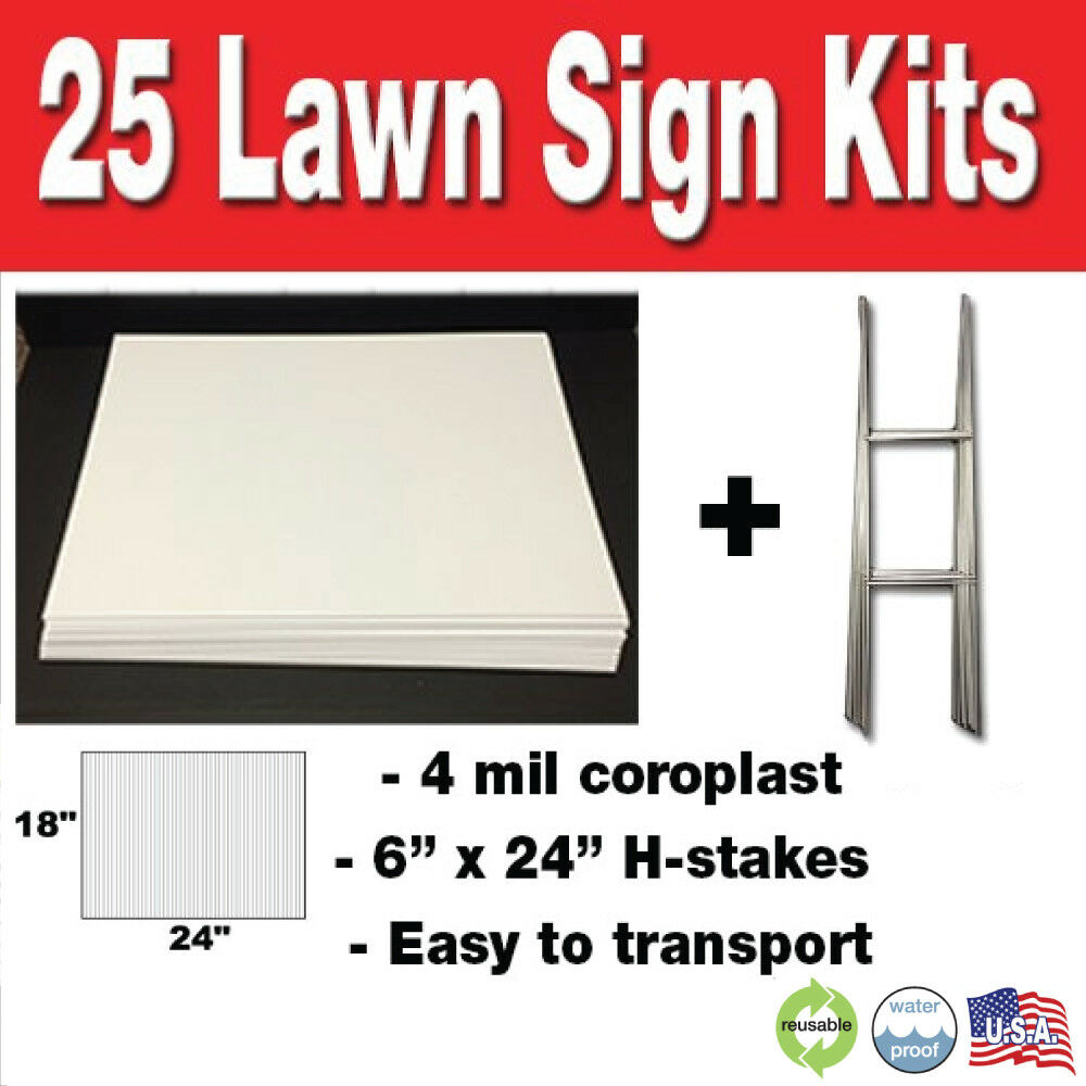 25 Pack Blank Yard Signs 18x24 with H-stakes for Garage Sale