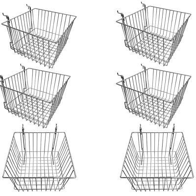 6 Pc Chrome 12x12x8 Slatwall Gridwall Pegboard Deep Basket Display Rack Fixture