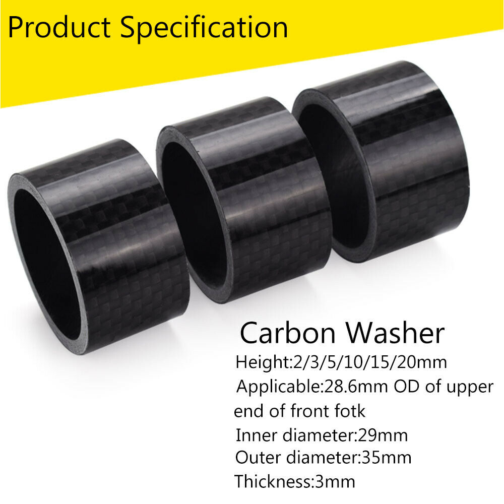 "11PCS Headset Stem Spacers 3K Carbon Bike Washer 1-1//8/"" MTB//Road Bicyle 6 Sizes"