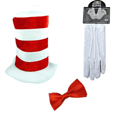 Adult Cat in the HAT BOW TIE & GLOVES Book Week Dr Seuss Fancy Dress Costume New