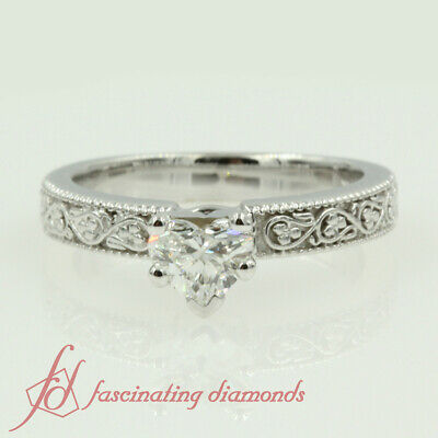 Shamrock Carved Solitaire Engagement Ring 0.50 Ct Heart Shaped Diamond VS1 GIA 1