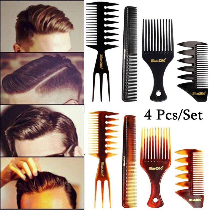 4 x Men's Hairdressing Wide Teeth Hairbrush Barber Comb Hair