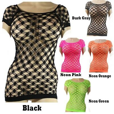 Casual fishnet cut out mesh SHORT sleeve top Nylon blend solid one size stretch  Casual Solid Cut Out