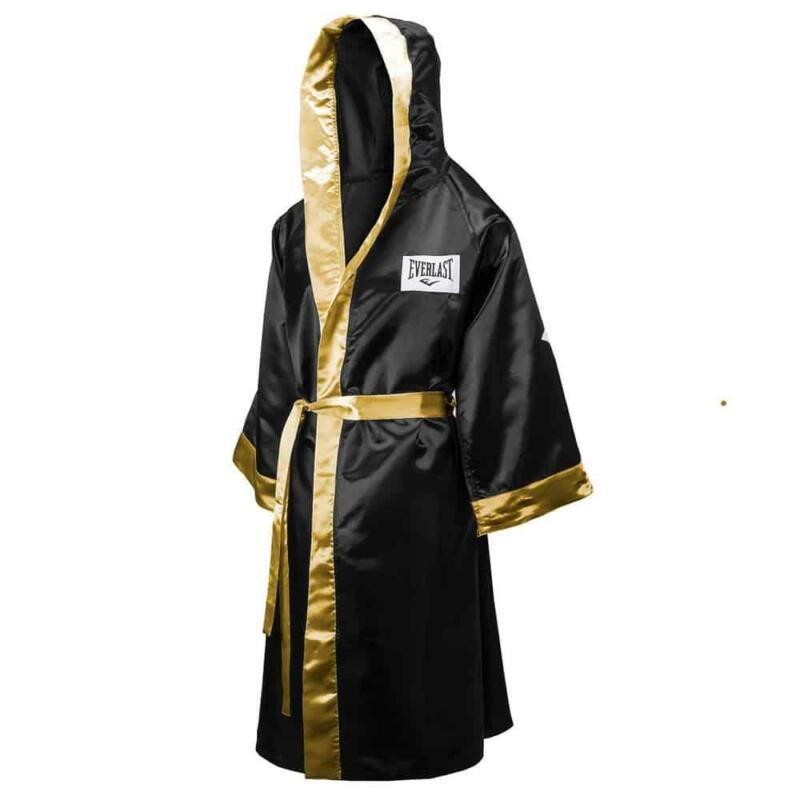 Everlast Hooded Full Length Boxing Robe In Black And Gold