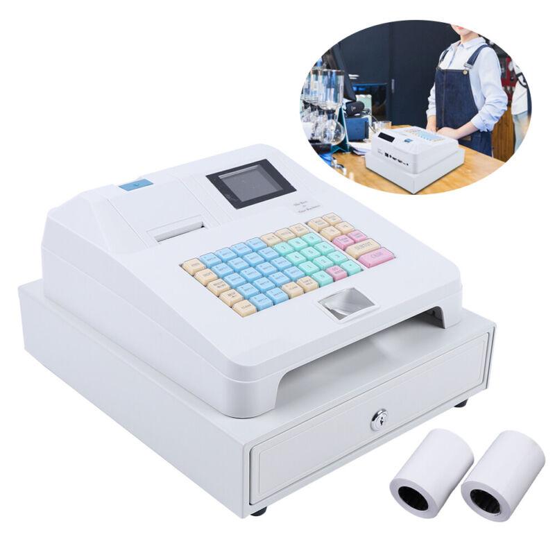 Electronic Cash Register Cash Drawer LED Display Digital Screen 48 Keys