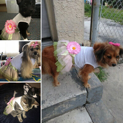 Sunflower Pet Dog Dress Summer Pink Princess Flower Baby Girl Apparel Costumes - Baby Dog Costumes