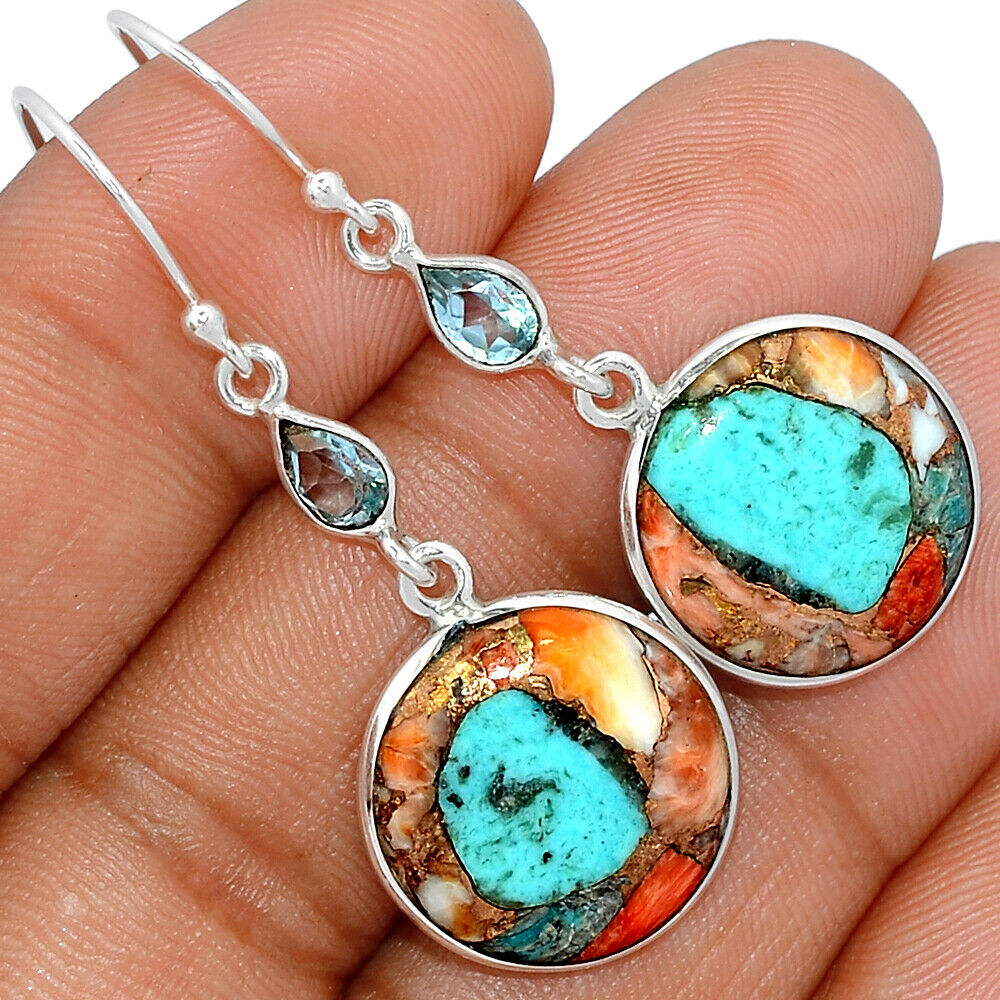 Spiny Oyster Arizona Turquoise Blue Topaz 925 Silver Earrings BE19364 - $11.99