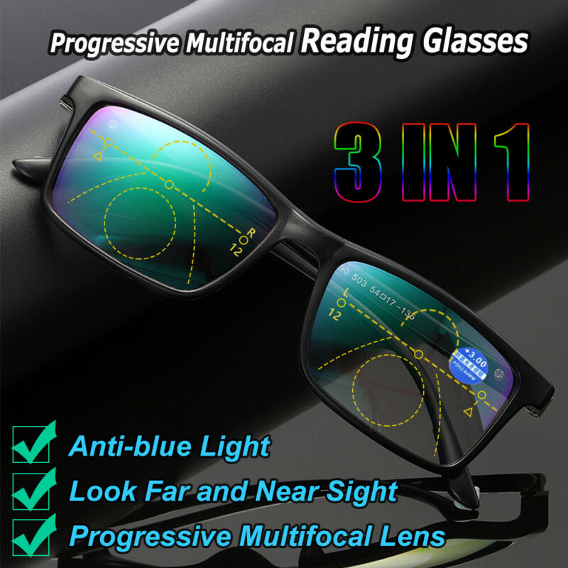 Reading Glasses Progressive Multifocal Lens +1.0-4.0 Anti-bl