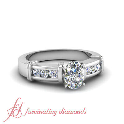 1.20 Ct Oval Shape E-Color Diamond Engagement Ring Channel Set 14K GIA Certified